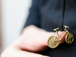 Bicycle brass pendant with moving wheels!