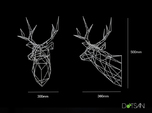 Wired Life Stag Polygon Trophy Head XL Facing Righ
