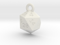 Cut D20 Keychain in White Strong & Flexible