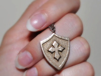 Cross Shield Pendant in White Strong & Flexible
