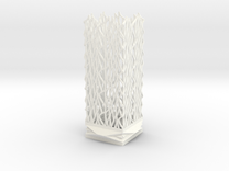 Square Column Small - Undulation Design (ripples) in White Strong & Flexible Polished