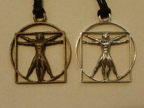 vitruvian man 5cm in Polished Silver