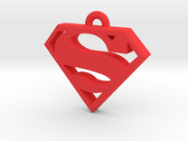 Superman Keychain 2.0 in Red Strong & Flexible Polished