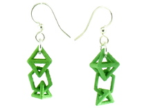Baby Platonic Solids Earrings, clean style in Green Strong & Flexible Polished