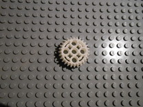 LEGO®-compatible 28-tooth bevel gear with pinhole in White Strong & Flexible