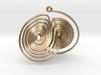 Lorenz Attractor System Necklace in Polished Gold Steel
