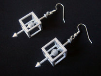 Physics Force-Body Diagram Earrings in White Strong & Flexible Polished