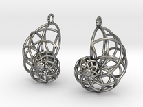 Wireframe Conchoid Earrings in Polished Silver