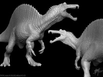 Spinosaurus 1/40 Roaring in White Strong & Flexible