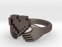 8bit Claddagh Ring  in Stainless Steel: 6 / 51.5