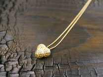 """Small Pendant """"Little Globes"""" in Polished Gold Steel"""