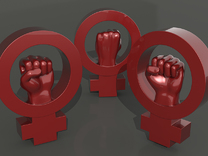 Women's rights symbol - BIG in Red Strong & Flexible Polished