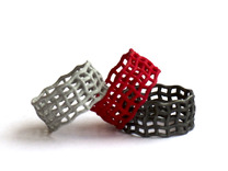 Spider web nested ring  in Black Strong & Flexible
