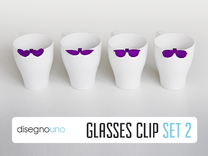 Party Accessories   Glasses (4 pz) in Purple Strong & Flexible Polished