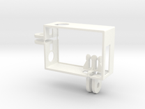 GoPro Hero3 frame with 2 connectors in White Strong & Flexible Polished