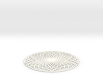 Spirograph Coaster 2 in White Strong & Flexible Polished