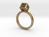 """JEWELRY Ring size 8 (18 mm) with HyperCube """"stone"""" in Polished Gold Steel"""