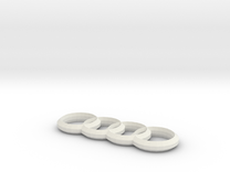 Audi 4 Ringe Anhaenger / Keychains in White Strong & Flexible
