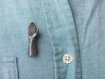 High Five Lapel Pin in Polished Grey Steel