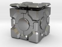 Companion Cube 50mm in Raw Silver