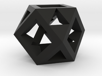 Cuboctahedron -- drilled with tetrahedral symmetry in Black Strong & Flexible