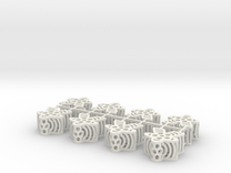 Flower Meeples - sprue of 8 in White Strong & Flexible