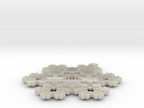 Koch Snowflake - 3 in White Acrylic
