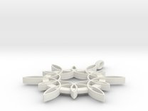 Double Hexafoil Pendant 1/2-Size in White Strong & Flexible