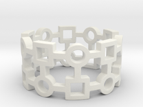 Circles & Squares Ring  in White Strong & Flexible Polished