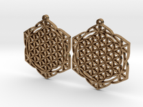 36x2mm Lotus of Life Ear Rings in Raw Brass
