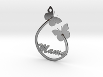Mama Pendant Butterfly butterflies silver gold nec in Polished Silver