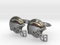 Cufflinks Football helmet  in Premium Silver