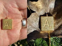 Scrabble Charm or Pendant-A in Polished Gold Steel