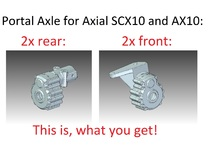 Portal Axle - Axial AX10, SCX10, 4x4x2 in White Strong & Flexible