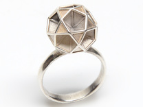 Polyhedron Ring Size 8 in Polished Silver