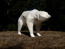 Stay Curious - Bear on all fours in White Strong & Flexible