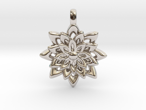 Lotus Flower Symbol Jewelry Necklace in Rhodium Plated Brass