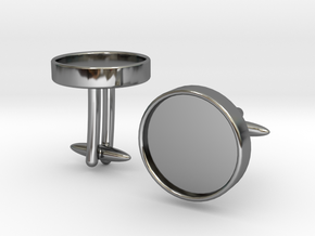 Round Cufflinks (D14) (Ellipsoid) in Premium Silver