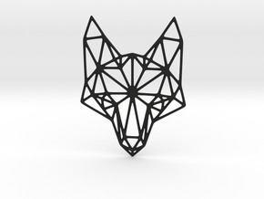 Geometric Fox Head Pendant in Black Natural Versatile Plastic