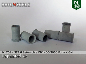SET 6 Betonrohre (N 1:160) in White Natural Versatile Plastic