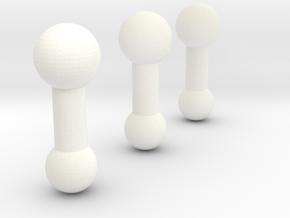 1:6 scale Female Neck Peg 3x in White Processed Versatile Plastic