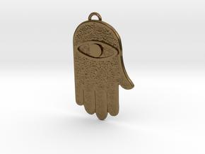 Hamsa Hand Pendant in Polished Bronze
