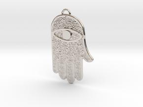 Hamsa Hand Pendant in Rhodium Plated Brass