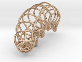 Wireframe Tardigrade in 14k Rose Gold Plated Brass