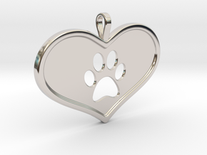 Paw in heart in Rhodium Plated Brass