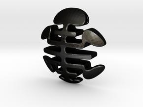 Turtle Necklace Pendant / Longevity Symble in Matte Black Steel