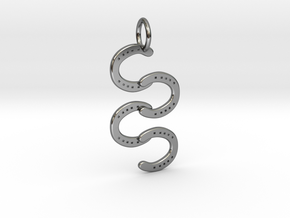 Horse Shoe pendant in Fine Detail Polished Silver