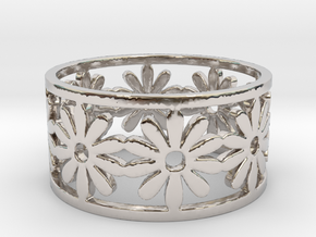 33 Daisy Ring V1 Ring Size 7.75 in Rhodium Plated Brass