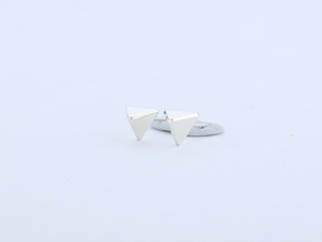 triangle ear stud in Fine Detail Polished Silver