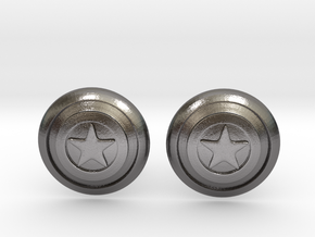 Captain America's Shield Cufflinks in Polished Nickel Steel